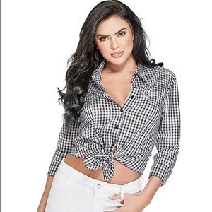GUESS Gingham Button Up Blouse